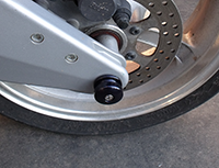 Black Spool Rear Axle Slider on Buell XB9S
