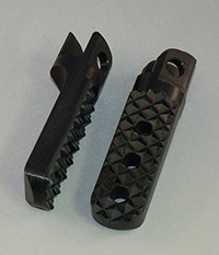 3/8 inch (10 mm) Lowered Foot Pegs, Black Anodized, Quadtrax Traction Tread