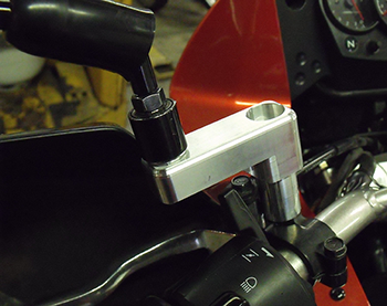 Prototype of left mirror extender, shown on our 2011 KLR-650