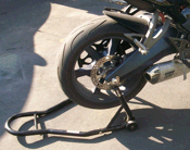 Buell 1125 motorcycle with Knight Design spool axle sliders