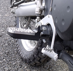 Knight Design Lowered Wide Hunter Tread Foot Pegs on Kawasaki KLR-650 Motorcycle