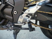 Yamaha FZ1 motorcycle with black Sidetrax foot peg, left side
