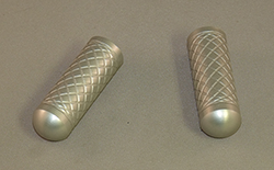 Toe Pegs for Foot Levers, in Silver with Grid engraved grip
